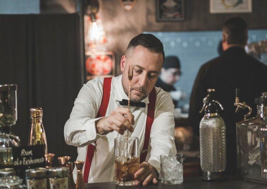 OPEN BAR A DOMICILIO creerà per voi cocktail incredibili e personalizzati, un elemento imperdibile per le vostre nozze!
