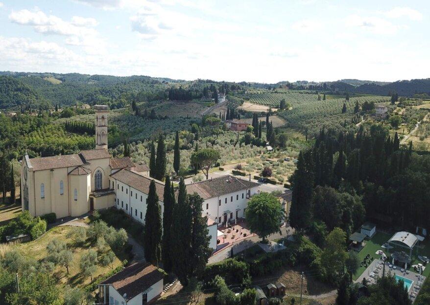 Villa Castiglione, ex convento completamente ristrutturato, celebra il vostro amore dall'alto di un panorama mozzafiato sulla collina toscana!